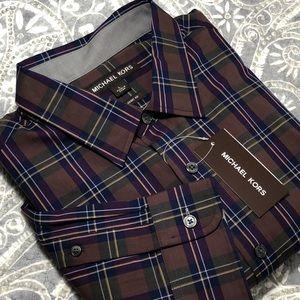 Men's NWT Michael Kors Classic Fit Plaid Shirt L
